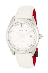 Brooks Brothers Men's Fleece Collection White Leather Strap Watch