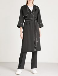 Moandco. Contrast Piping Satin Trench Coat Black
