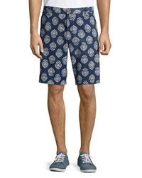 Tailor Vintage Pineapple Print Canvas Twill Walking Shorts Indigo