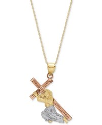 Macy's Tricolor Jesus And Cross 18 Pendant Necklace In 14K Gold Rose Gold And Rhodium Plate