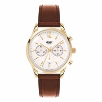 Henry London Unisex 39Mm Westminster Chronograph Leather Watch Gold Brown Neutrals