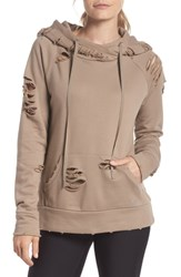 Alo Yoga Ripped Hoodie Gravel