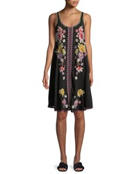 Johnny Was Peta Sleeveless Floral Embroidered Dress Black