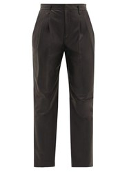 Red Valentino Redvalentino High Rise Leather Trousers Black