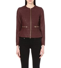 French Connection Medina Stich Detail Faux Leather Jacket Coffee Bean