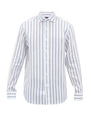 Ralph Lauren Purple Label Double Stripe Linen Shirt Blue White