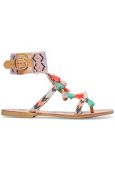 Mabu By Maria Bk Embellished Leather Sandals Coral