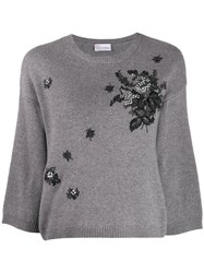 Red Valentino Floral Embroidery Crew Neck Jumper Grey