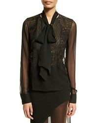 Prabal Gurung Sheer Long Sleeve Tie Neck Blouse Black