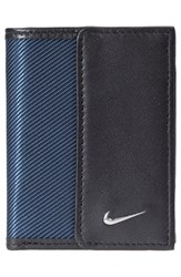 Men's Nike Leather And Tech Twill Money Clip Card Case Blue Navy Black