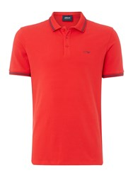 Armani Jeans Men's Regular Fit Tipped Logo Polo Red