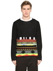 Comme Des Garcons Cutout Intarsia Wool Blend Knit Sweater