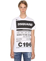 Dsquared Printed Cool Guy Cotton Jersey T Shirt White
