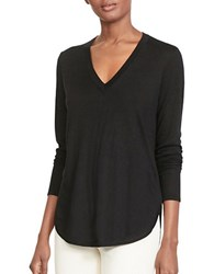Lauren Ralph Lauren Petite Silk Blend V Neck Sweater Black