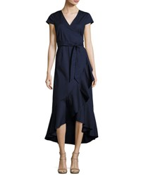 Neiman Marcus Asymmetric Ruffled Long Wrap Dress Navy