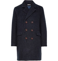 Gant Double Breasted Boucle Overcoat Blue