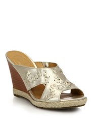 Jack Rogers Sophia Metallic Leather Wedge Sandals Gold