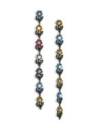 Gucci Daisy Crystal Enamel And Faux Pearl Clip On Drop Earrings Gold Multi