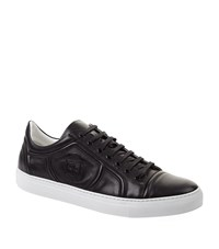 Billionaire Embossed Crest Leather Sneaker Male Black