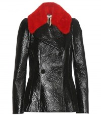 Alexander Mcqueen Fur Trimmed Patent Leather Jacket Black