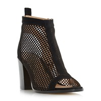Head Over Heels Jinx Perforated Peep Toe Sandals Black