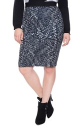 Eloquii Print Scuba Knit Pencil Skirt Plus Size Black