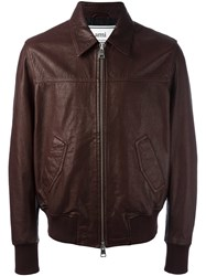 Ami Alexandre Mattiussi Leather Zipped Jacket Red
