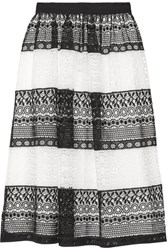 Alice Olivia Birdie Crocheted Lace Skirt Black