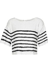 Marissa Webb Woman Deandra Cropped Striped Sequined Tulle Top White