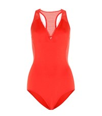 Stella Mccartney Neoprene And Mesh Swimsuit Red