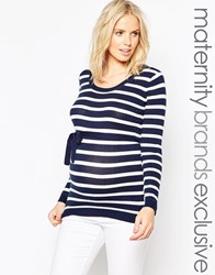 Mama Licious Mamalicious Striped Knitted Top With Tie Waist Navy