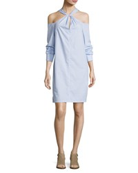 Rag And Bone Collingwood Long Sleeve Cold Shoulder Dress Blue