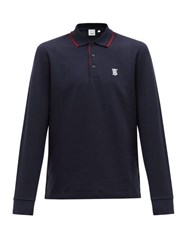 Burberry Aden Tb Embroidered Long Sleeved Cotton Polo Shirt Navy