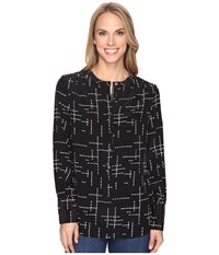 Pendleton Day And Night Tunic Black Grid Print Women's Blouse
