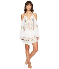 Nanette Lepore African Crinkle Gauze Peasant Tunic Cover Up White Women's Swimwear