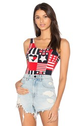 Hilfiger Collection Track And Field Printed Bodysuit Red