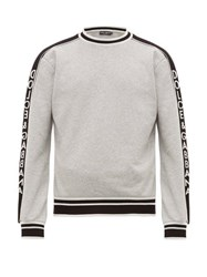 Dolce And Gabbana Logo Jacquard Cotton Sweatshirt Grey