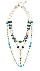 House Of Harlow Cairo Layered Statement Necklace Gold Malachite Lapis Turquoise