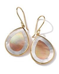 Ippolita 18K Gold Polished Rock Candy Mini Teardrop Earrings In Brown Shell Mother Of Pearl