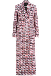 Msgm Virgin Wool Maxi Coat Multicolor