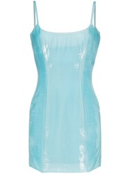 Halpern Bustier Hi Sheen Mini Dress Blue