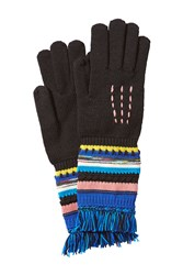 Missoni Wool Gloves With Striping And Fringe Multicolor