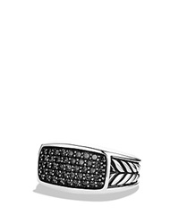 David Yurman Chevron Narrow Ring With Black Diamonds Silver