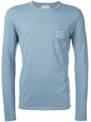 Officine Generale Long Sleeved Pocket Tee Blue