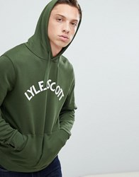 Lyle And Scott Applique Logo Hoodie In Green