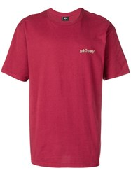 Stussy Logo Printed T Shirt Red