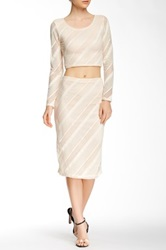 Blvd Striped Mesh Midi Skirt Beige