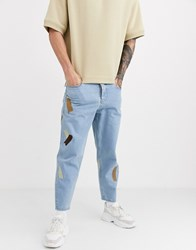 Asos White Tapered Jeans In 14Oz Mid Wash Denim With Embroidery Detail Blue