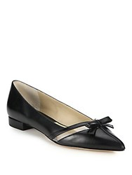 Michael Kors Joey Leather And Vinyl Bow Flats Black