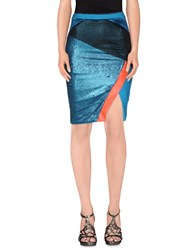 Three Floor Skirts Knee Length Skirts Women Blue